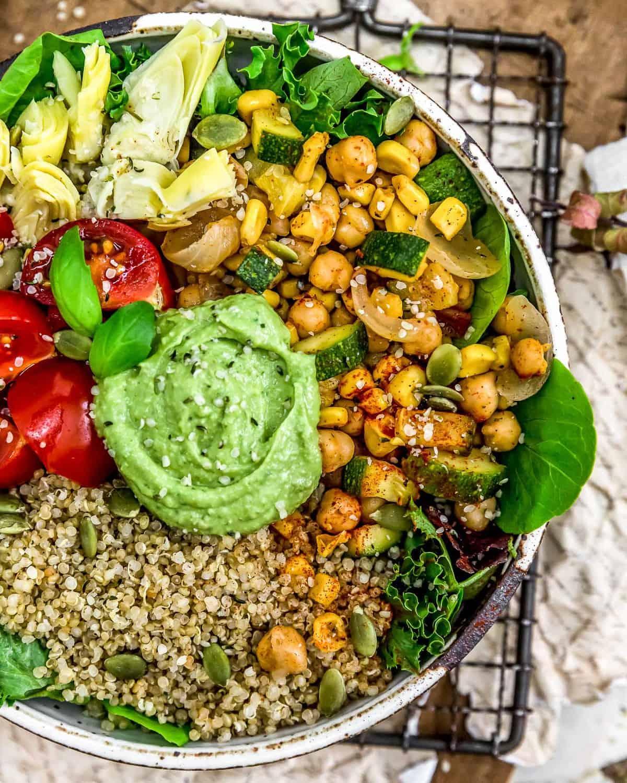 Veggie Bowl with Vegan Oil Free Avocado Pesto