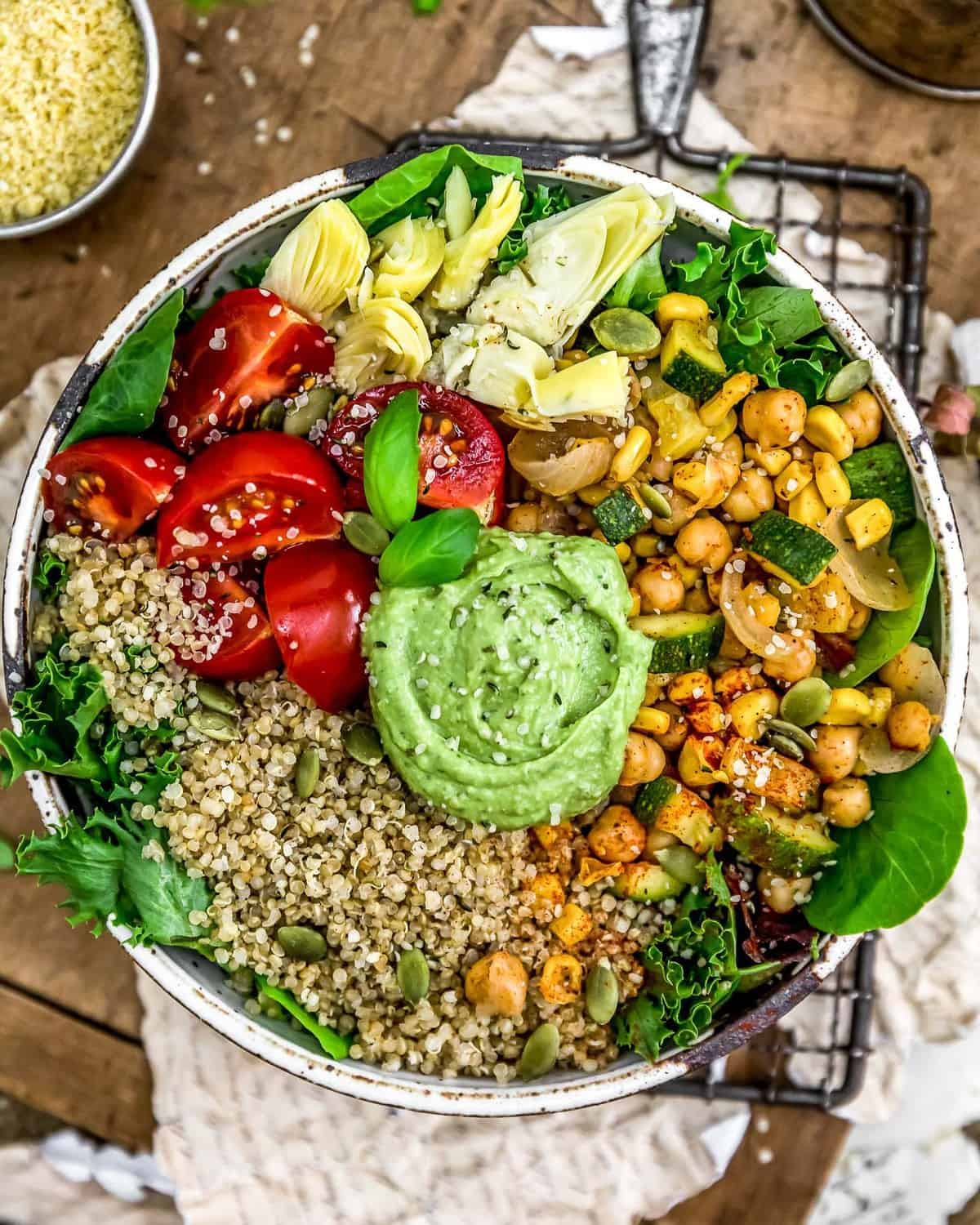 Vegan Oil Free Avocado Pesto in a buddha bowl