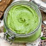 Vegan Oil Free Avocado Pesto in a jar