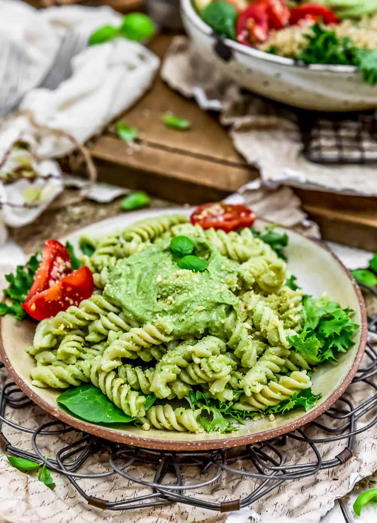 Vegan Oil Free Avocado Pesto with pasta