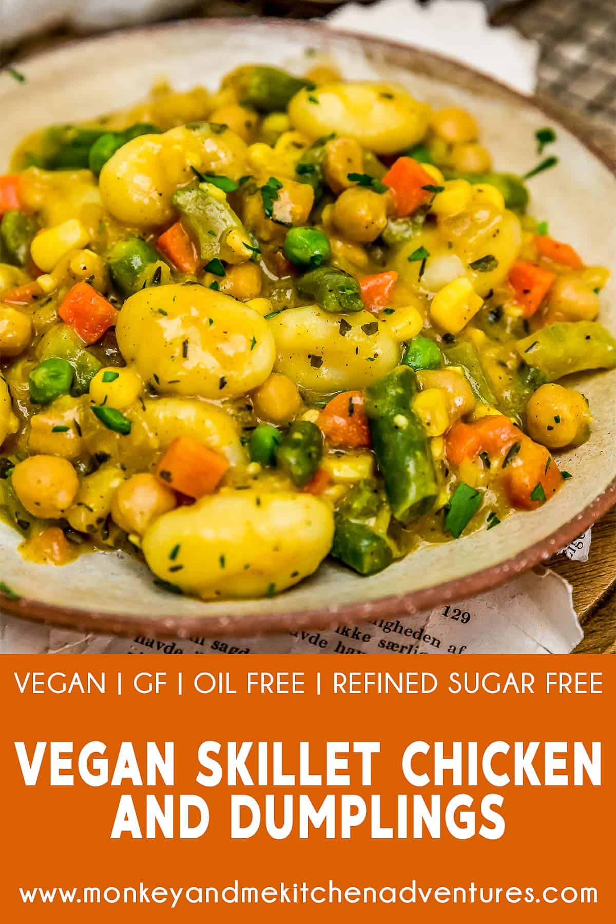 "Vegan Skillet ""Chicken"" and Dumplings with text description"