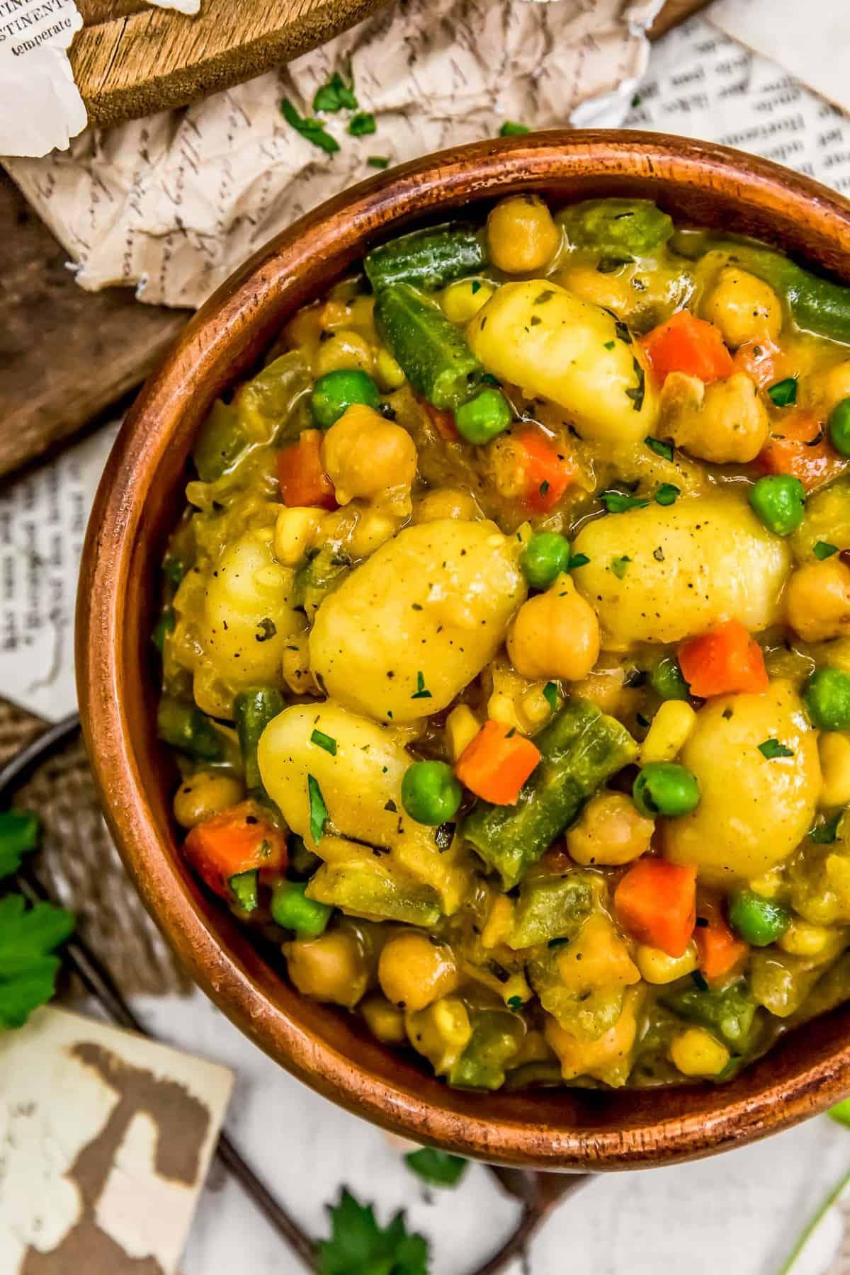"Bowl of Vegan Skillet ""Chicken"" and Dumplings"