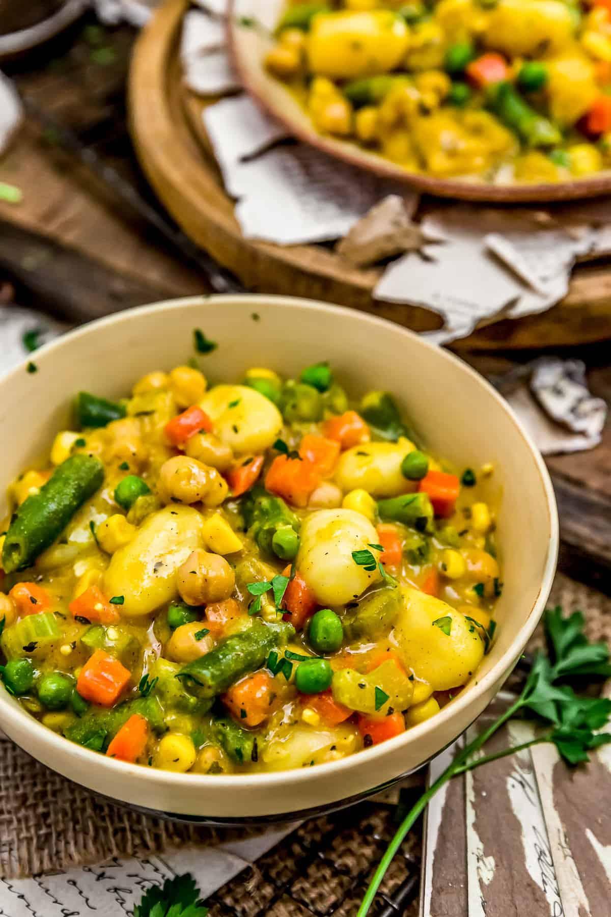 "Bowls of Vegan Skillet ""Chicken"" and Dumplings"