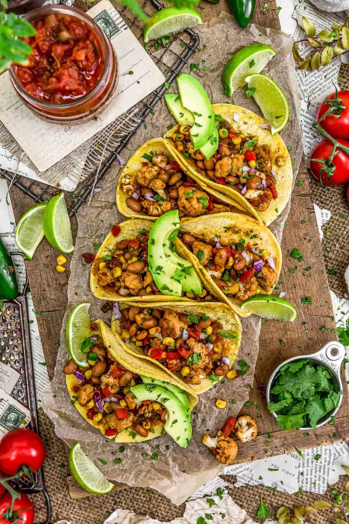 Tablescape of Cauliflower Fiesta Tacos