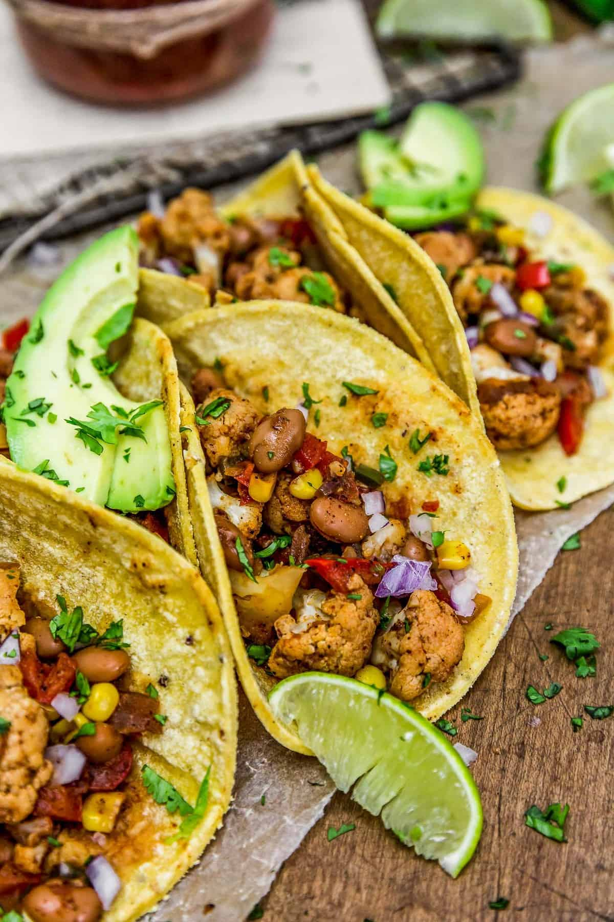 Close up of Cauliflower Fiesta Tacos