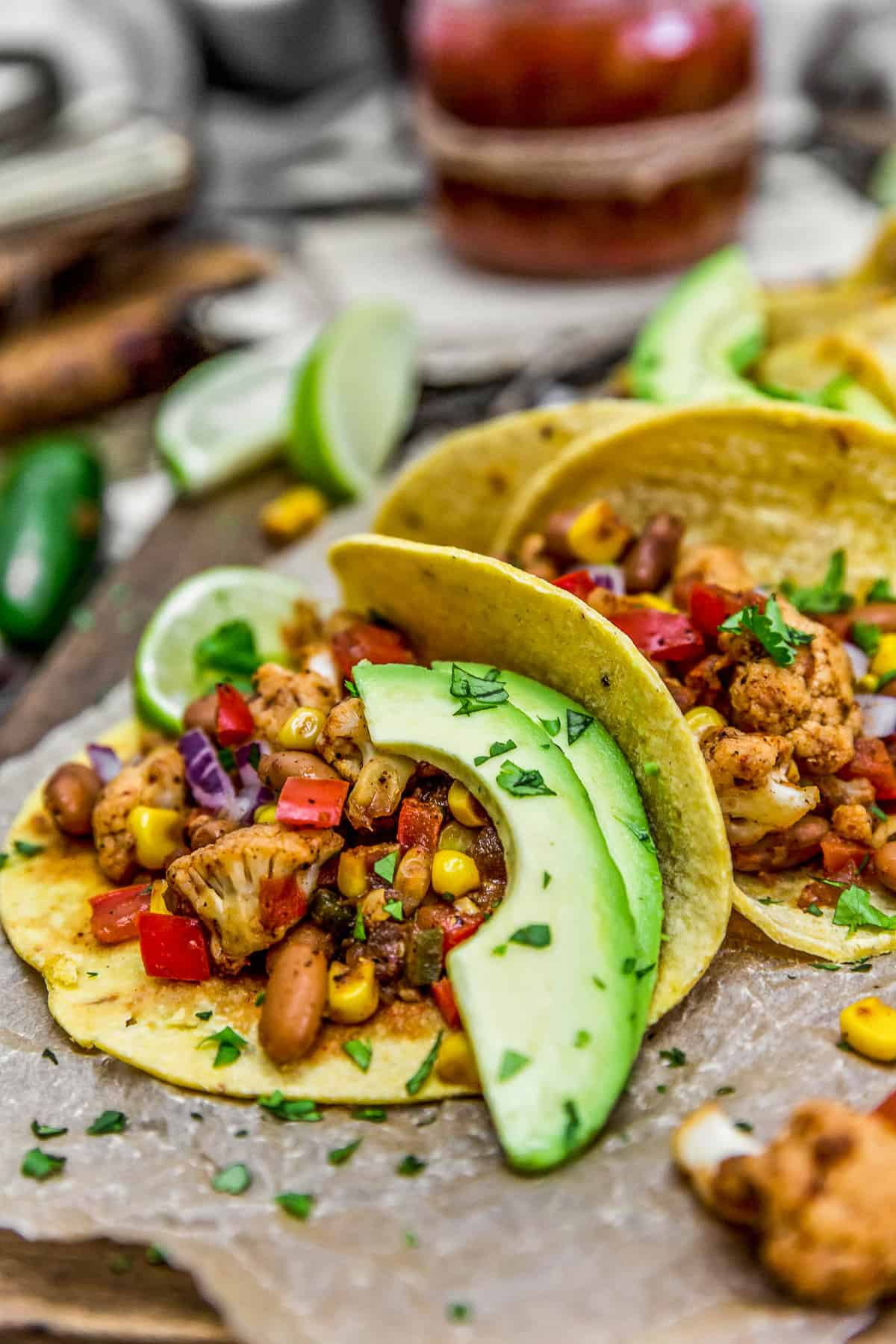 Cauliflower Fiesta Tacos with avocados