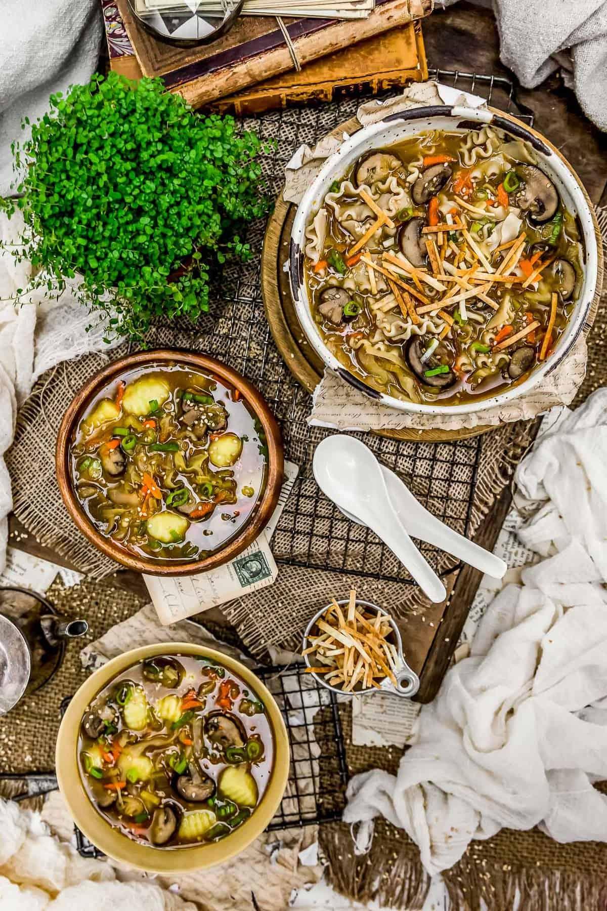 Tablescape of Deconstructed Vegan Wonton Soup
