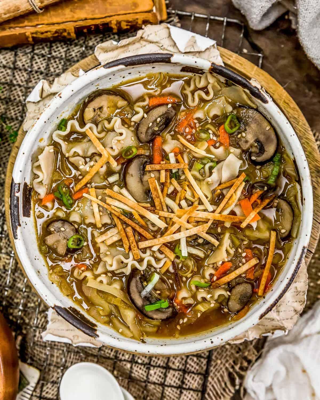 Bowl of Deconstructed Vegan Wonton Soup