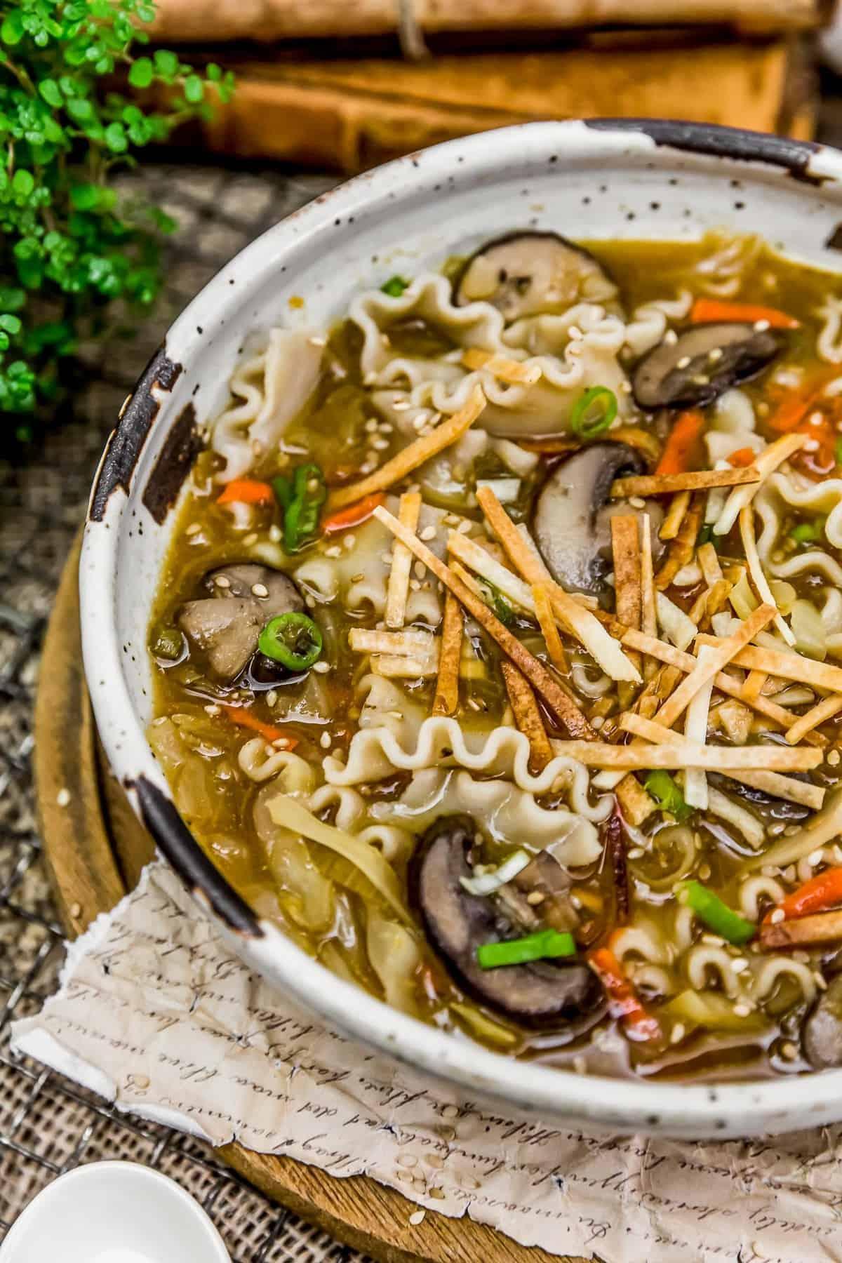 Close up of Deconstructed Vegan Wonton Soup