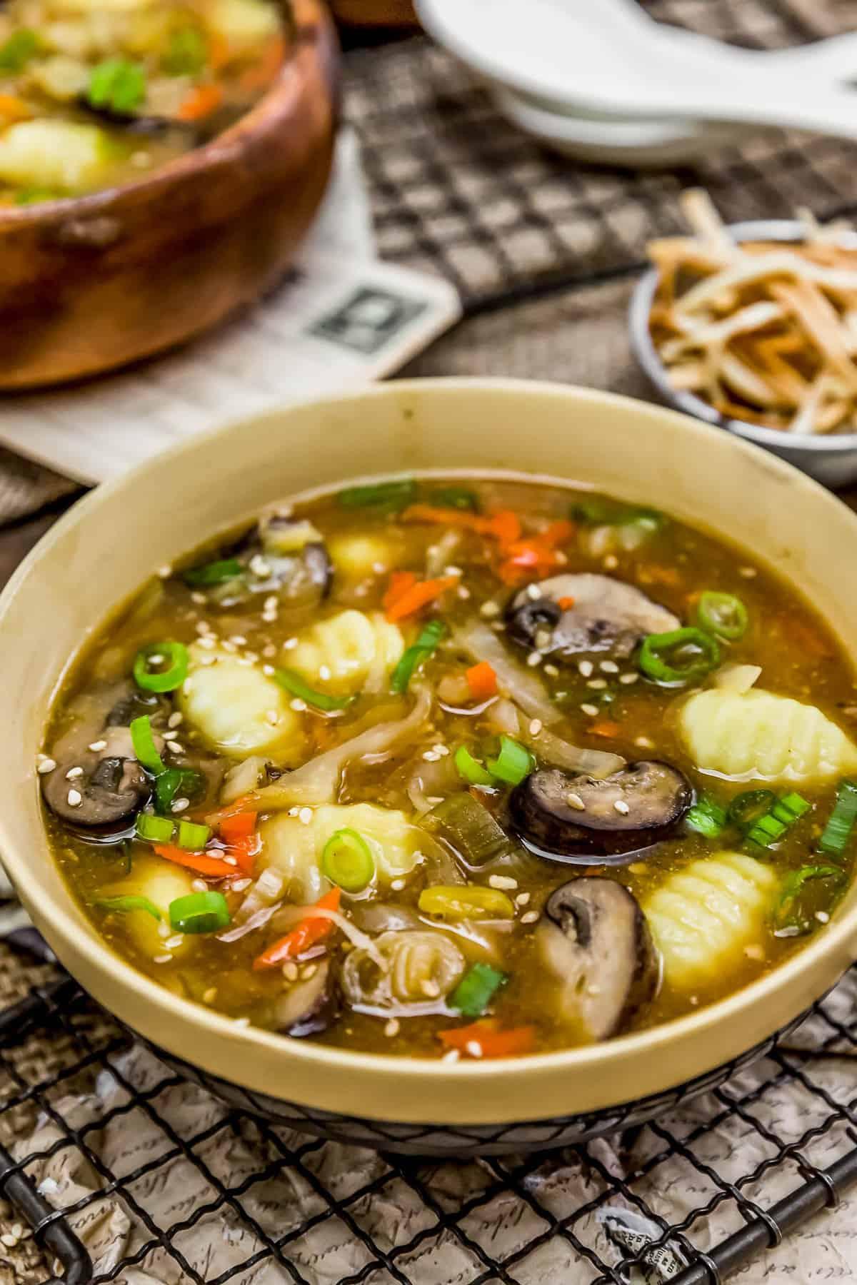 Deconstructed Vegan Wonton Soup in a bowl