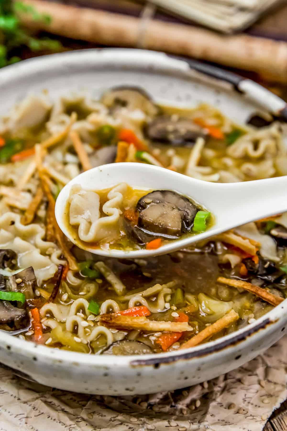 Eating Deconstructed Vegan Wonton Soup
