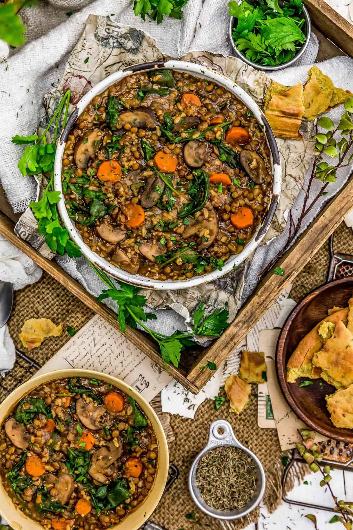 Tablescape of French Lentil Rice Mushroom Stew