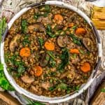 Bowl of French Lentil Rice Mushroom Stew