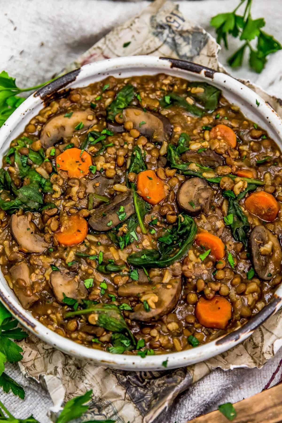French Lentil Rice Mushroom Stew