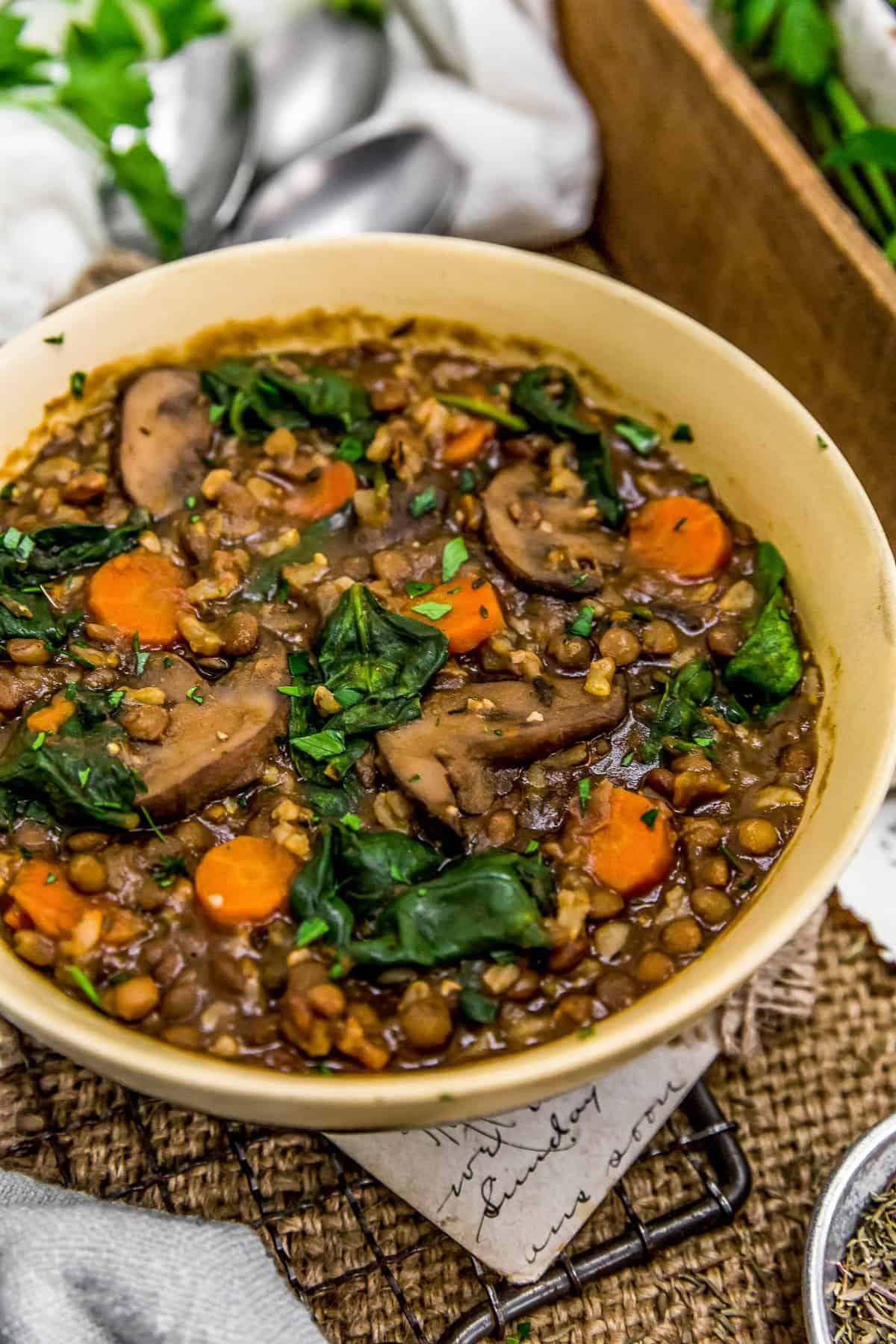 French Lentil Rice Mushroom Stew in a bowl