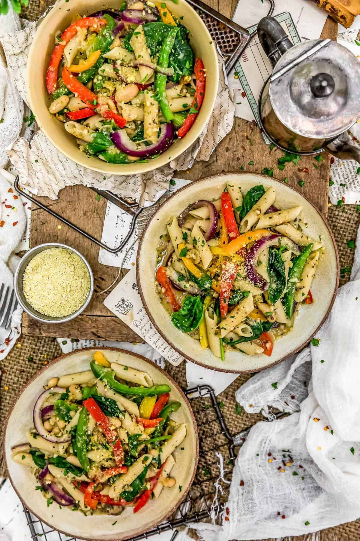 Tablescape of Italian Pasta and Peppers