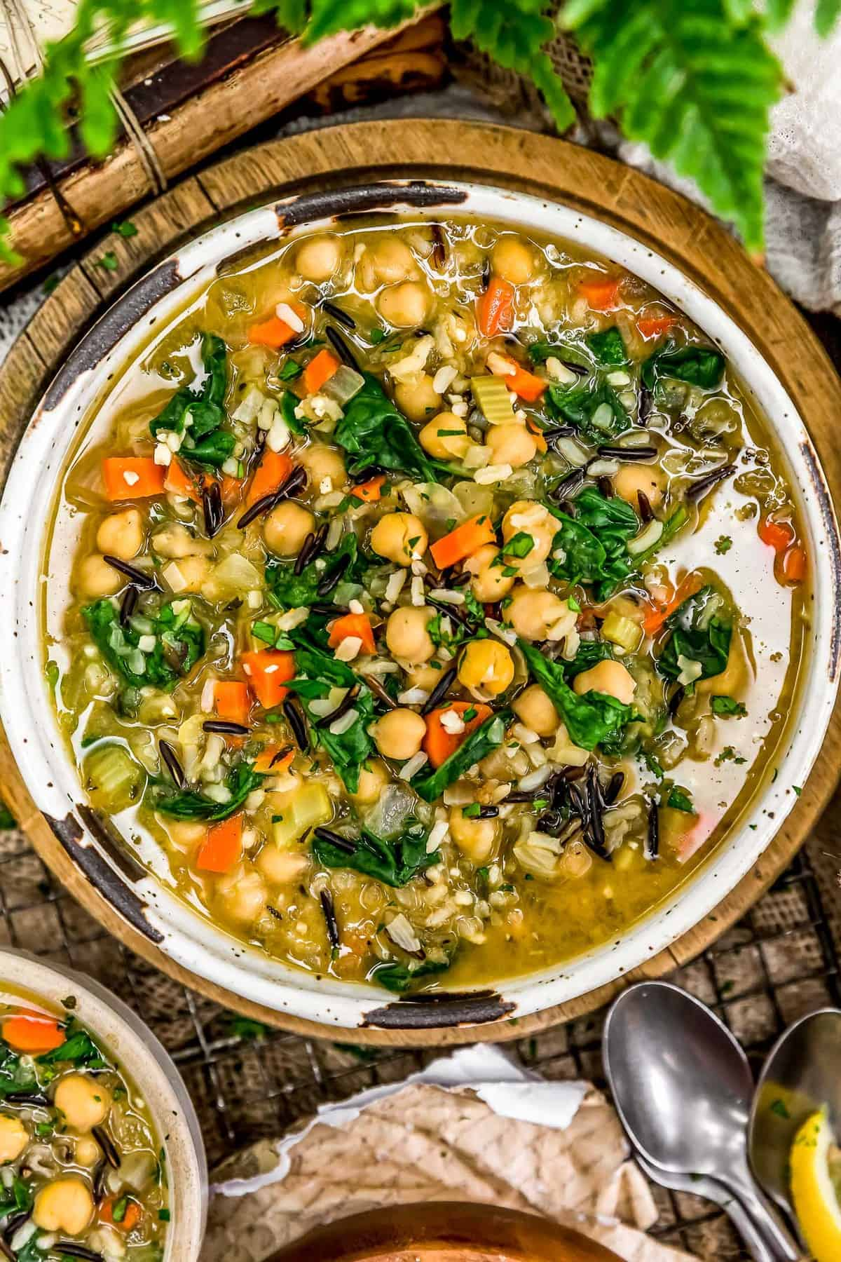 Bowl of Lemony Chickpea Rice Soup