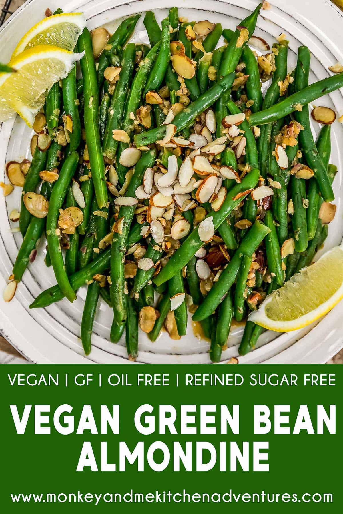 Vegan Green Bean Almondine with text description
