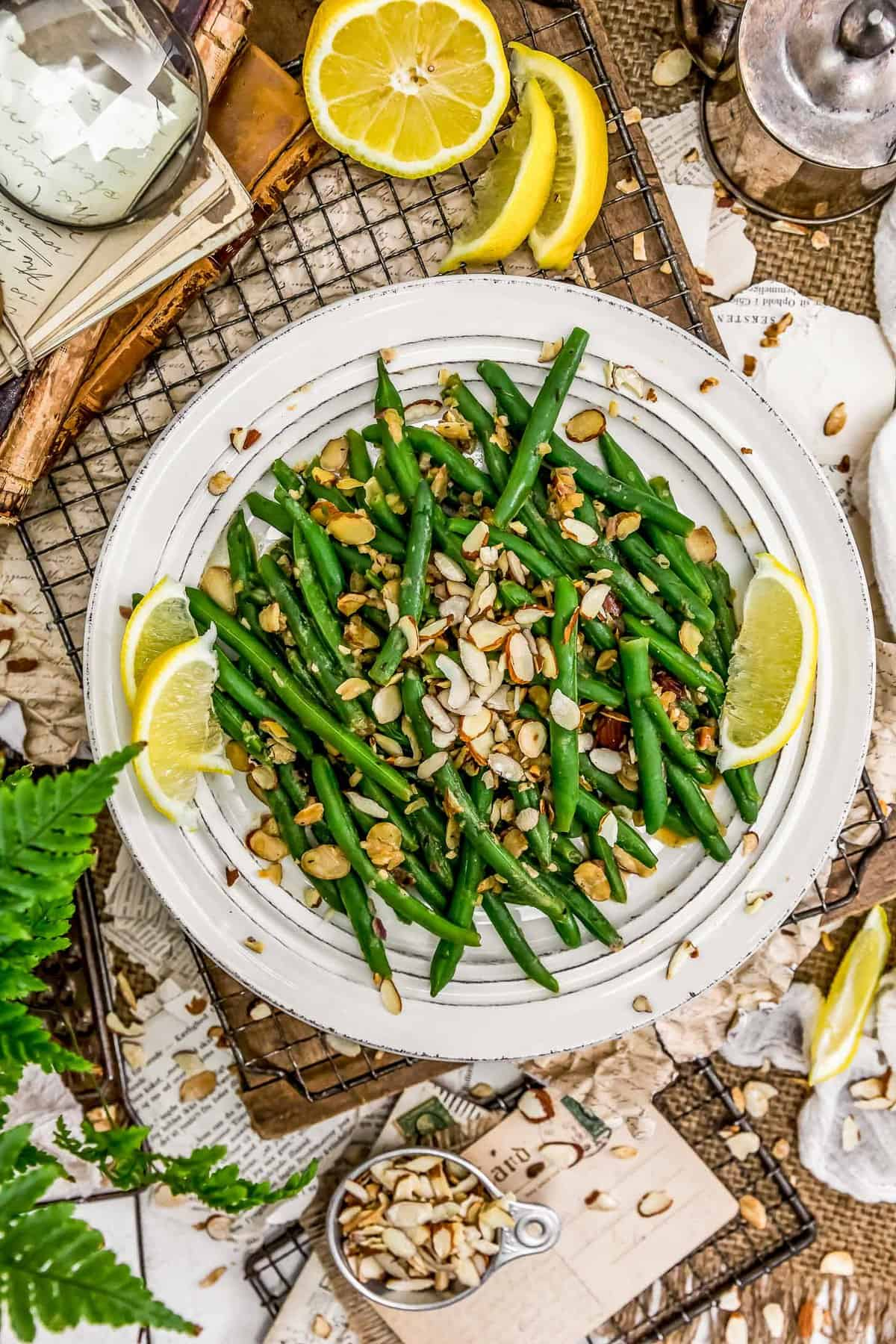 Tablescape of Vegan Green Bean Almondine