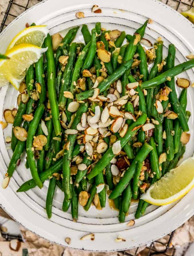 Plate of Vegan Green Bean Almondine