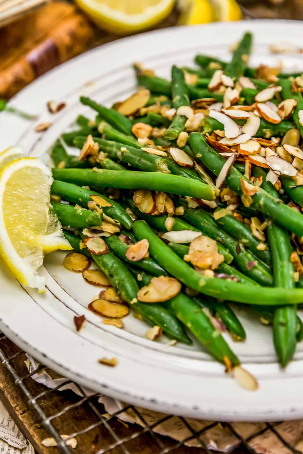 Plated Vegan Green Bean Almondine