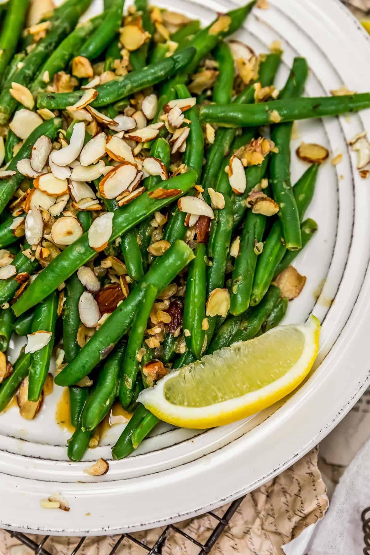 Close up of Vegan Green Bean Almondine
