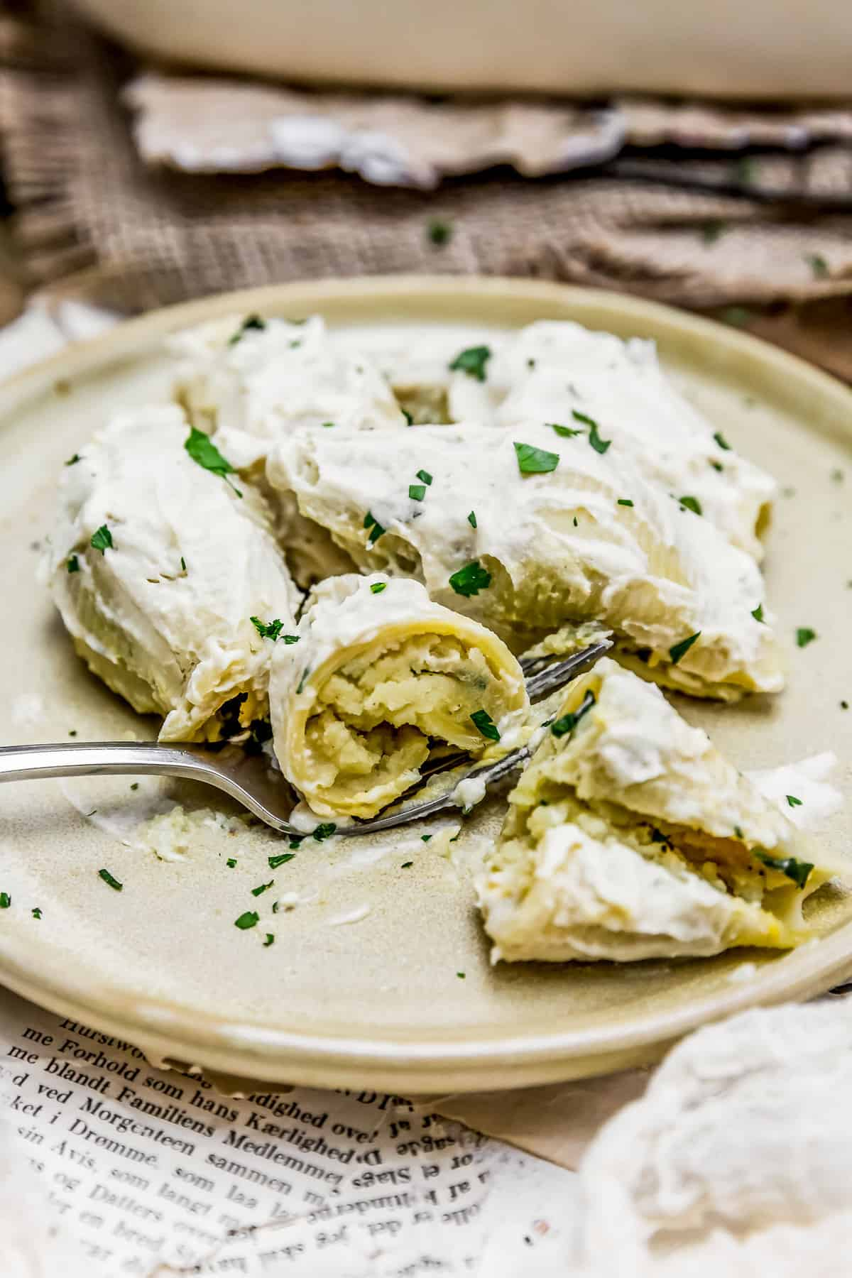 Plated Vegan Pierogi Stuffed Shells
