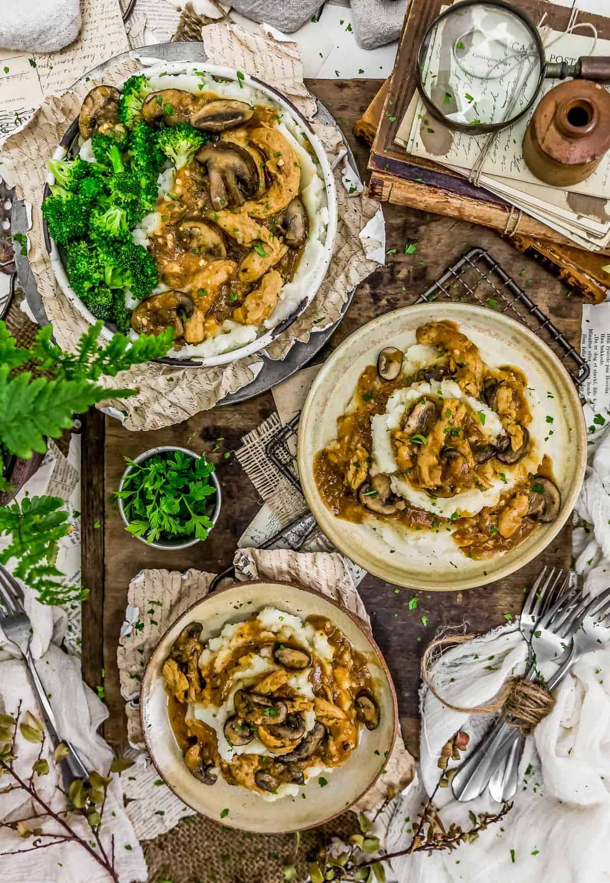 Tablescape of Vegan Salisbury Steak