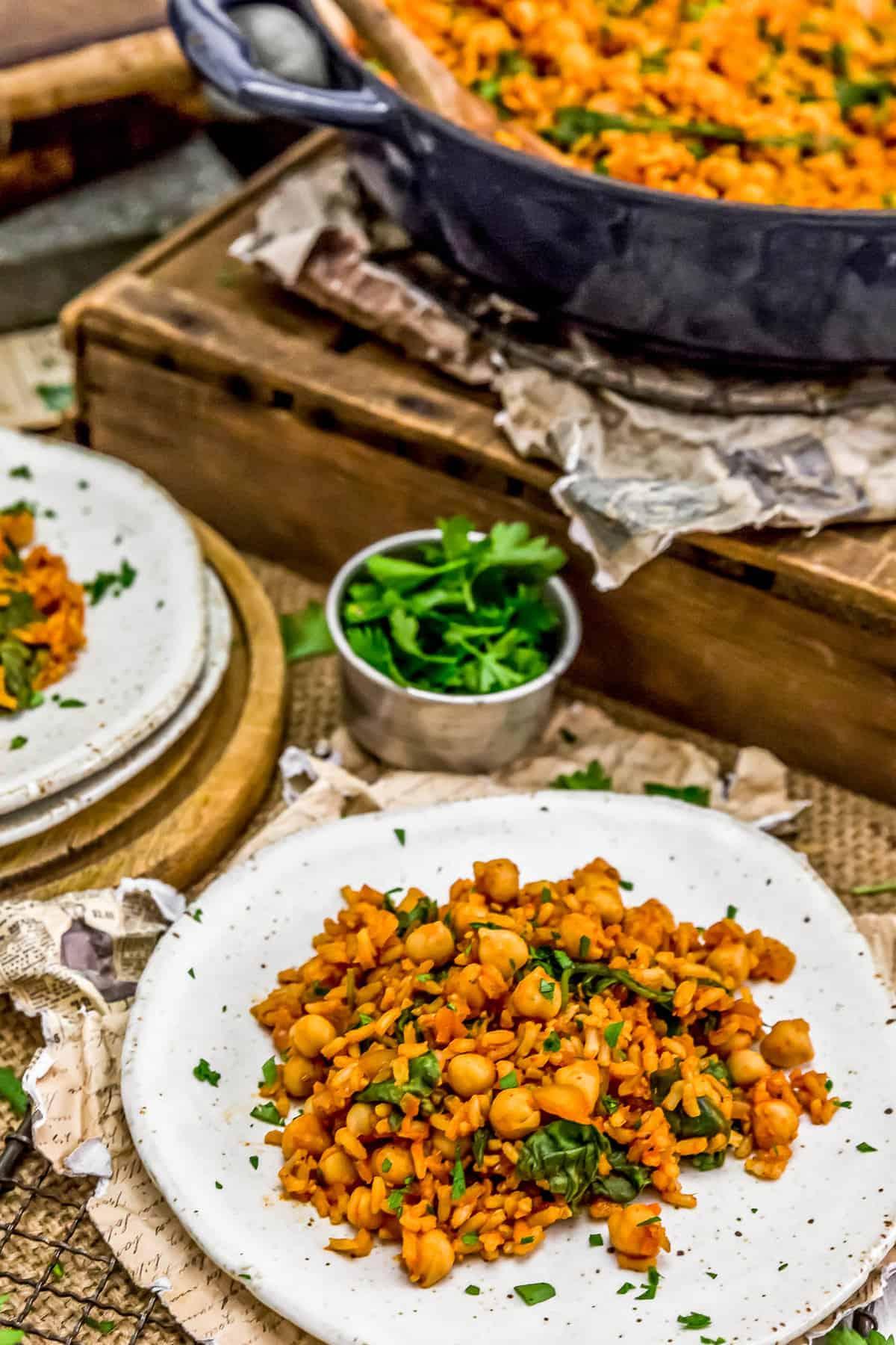 """Plated Vegan Spanish Spicy """"Chorizo"""" and Rice"""