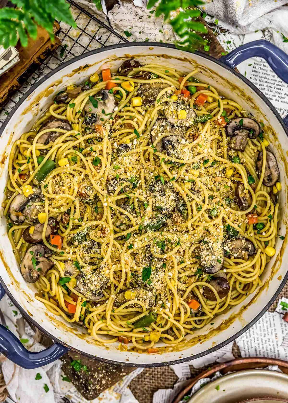 Skillet of Vegan Veggie Tetrazzini
