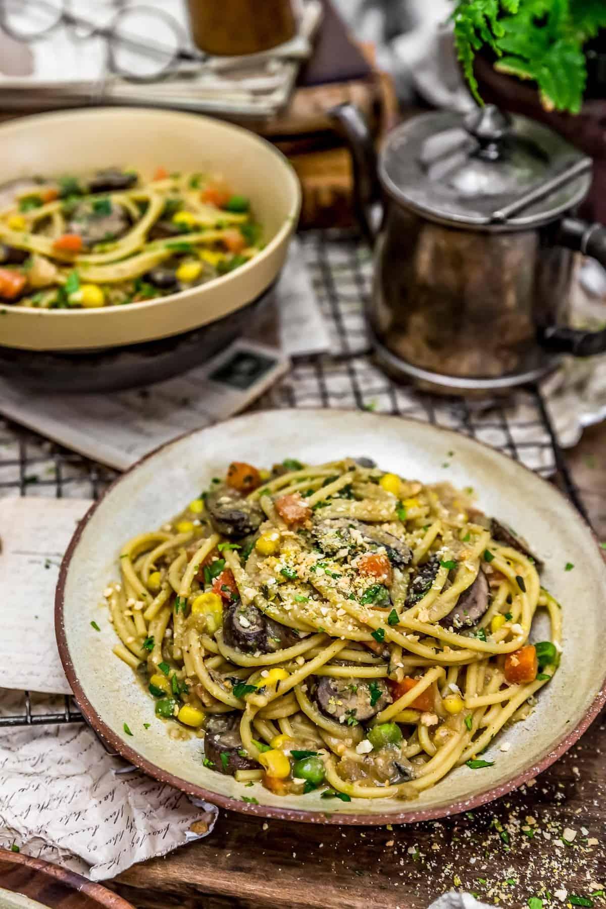 Plate and bowl of Vegan Veggie Tetrazzini