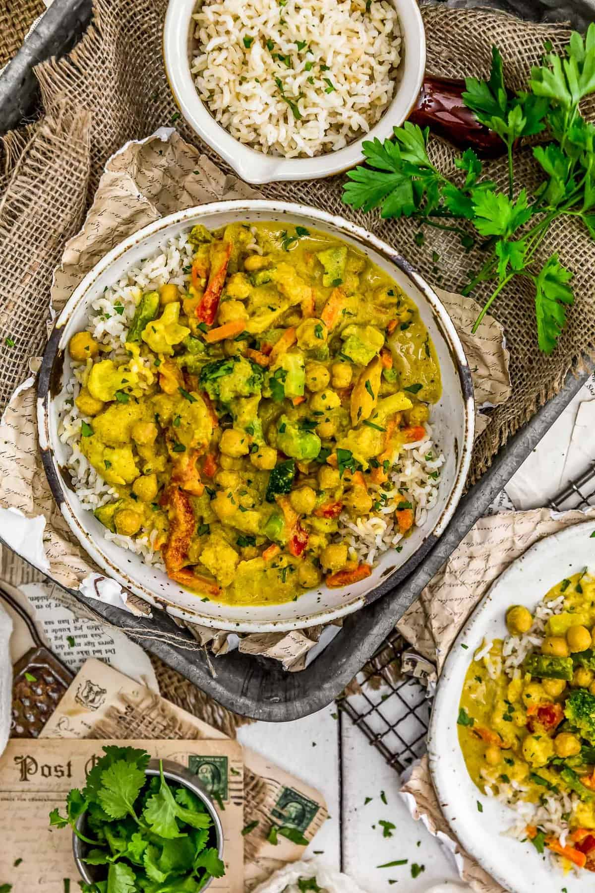 Tablescape of Easy Vegetable Korma