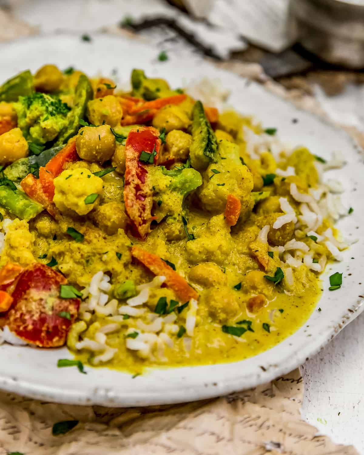 Close up of Easy Vegetable Korma