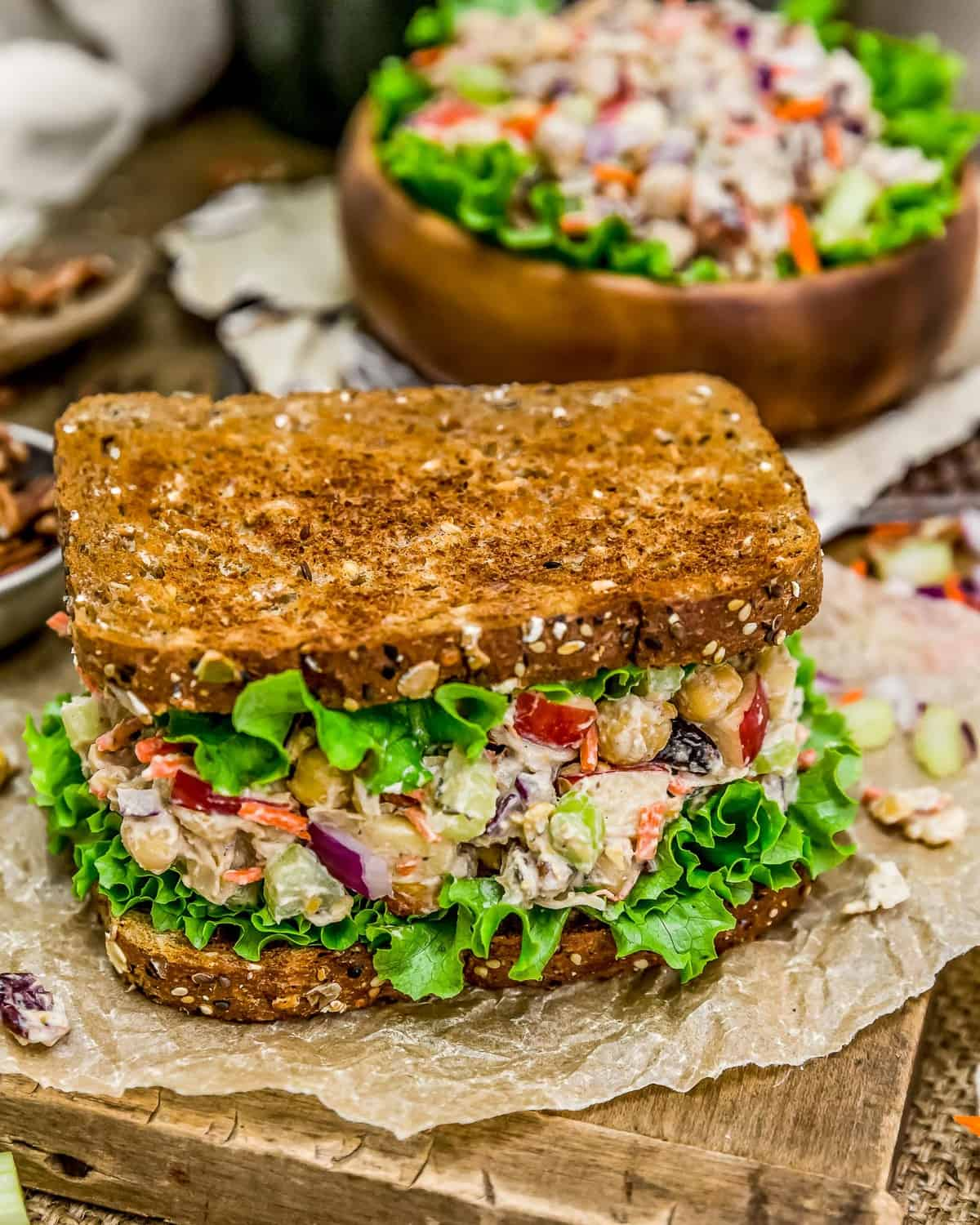 Harvest Chickpea Salad Sandwich and Bowl