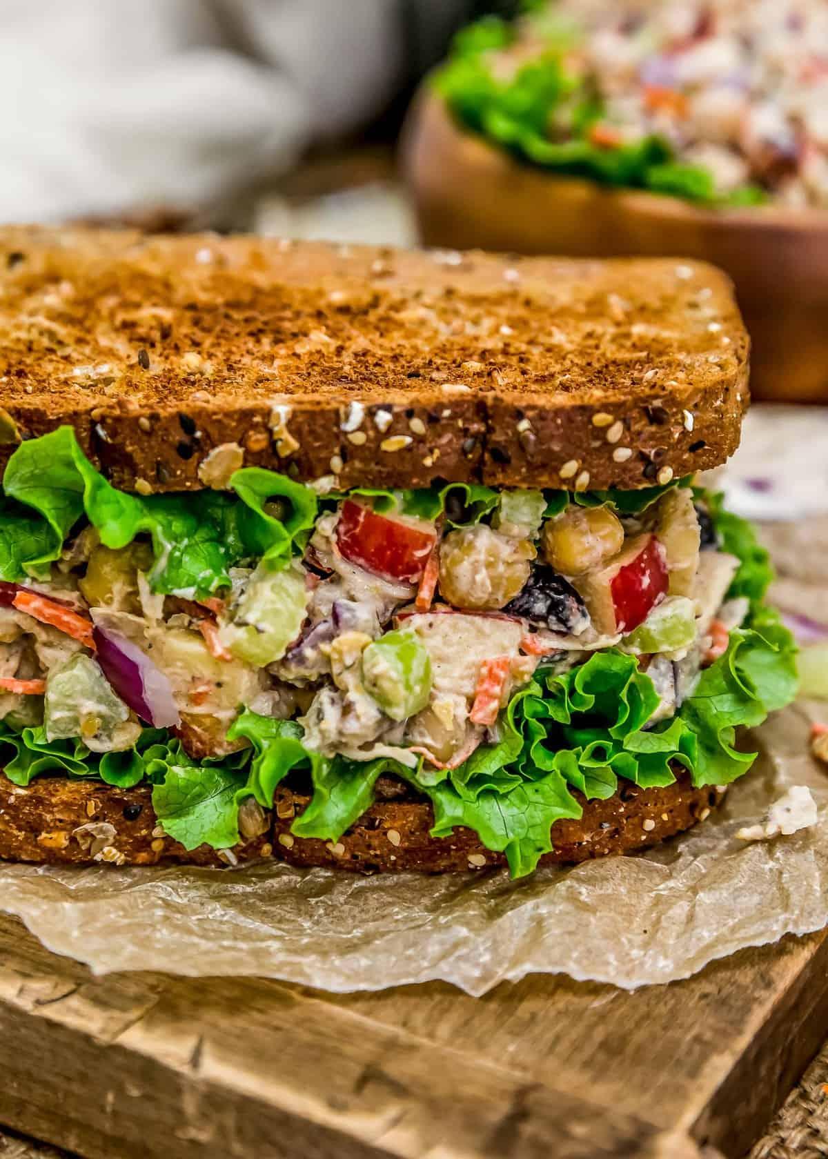 Close up of Harvest Chickpea Salad Sandwich