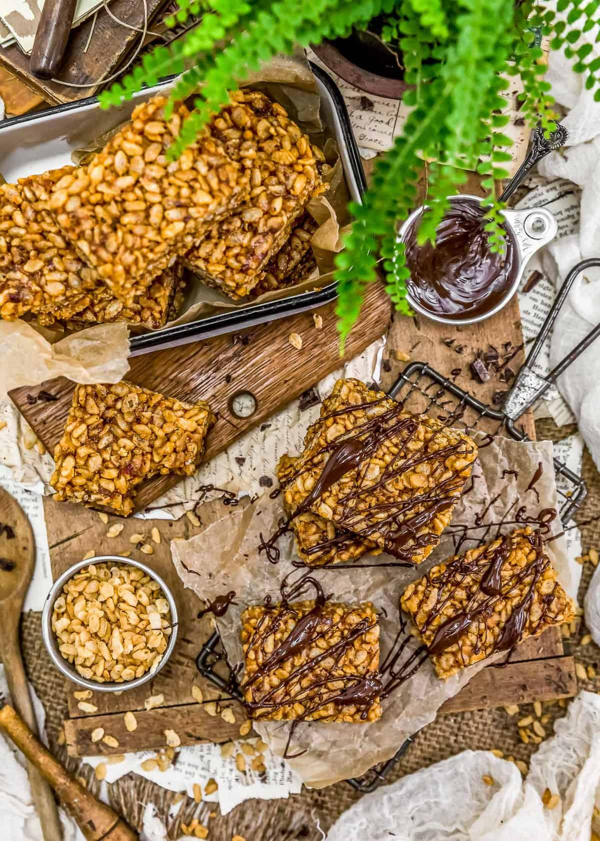 Tablescape of Healthy Vegan Rice Krispie Treats