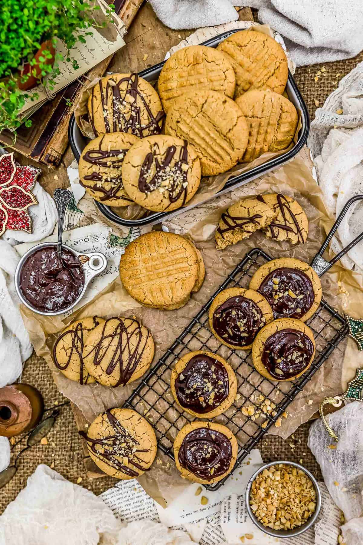 Tablescape of Peanut Butter Shortbread Cookies