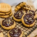 Peanut Butter Shortbread Cookies with chocolate frosting
