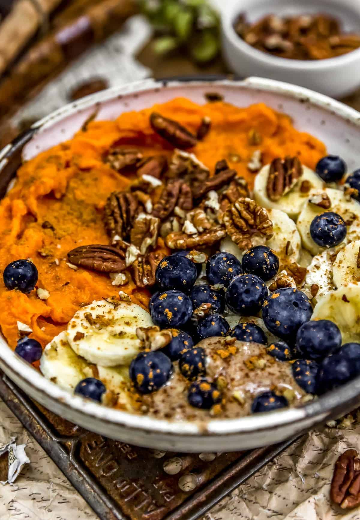 Close up of Cinnamon Blueberry Pecan Bowl