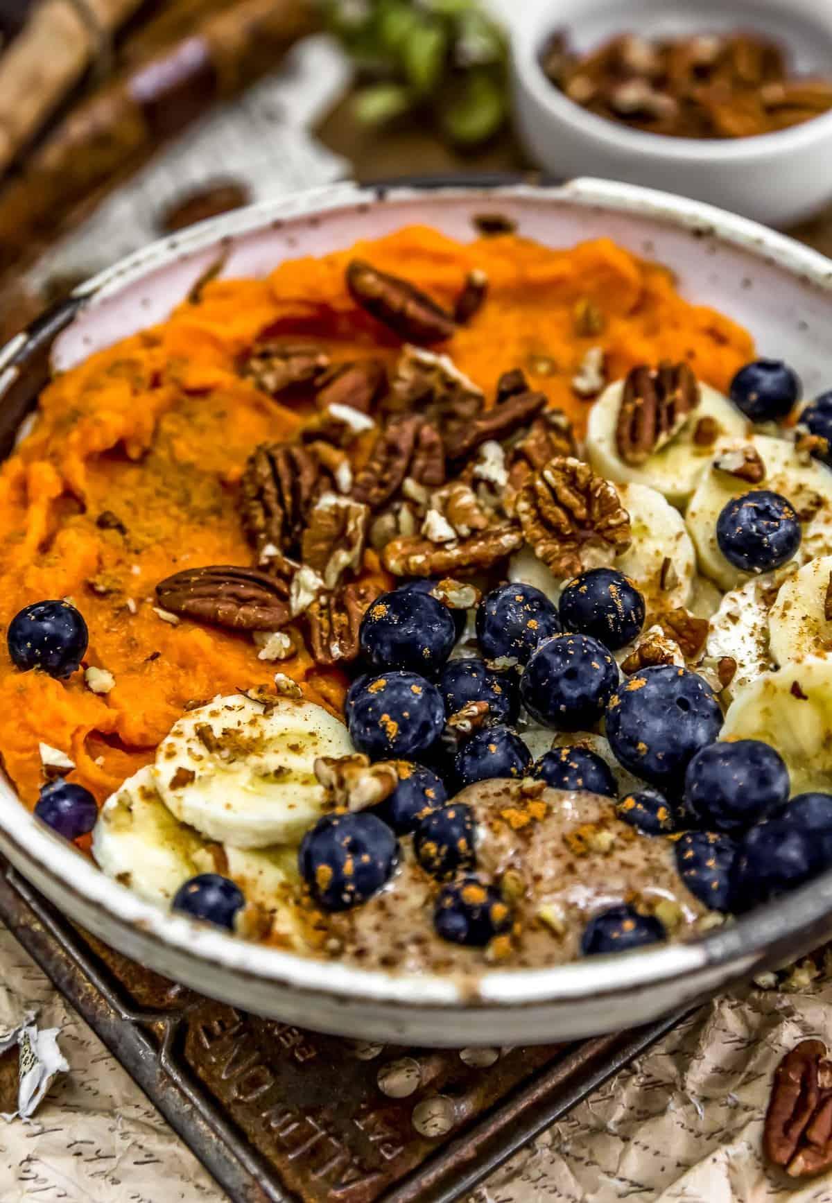 Close up of Cinnamon Blueberry Pecan Bowl