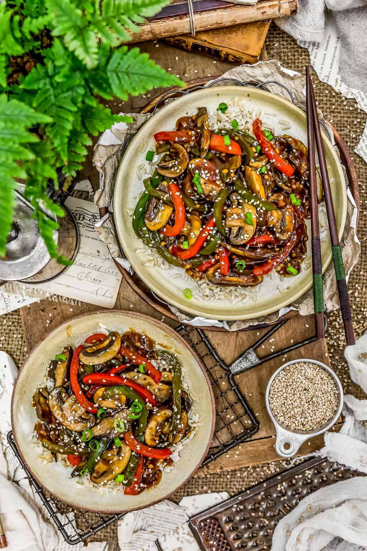 """Tablescape of plated Vegan Chinese Pepper """"Steak"""""""