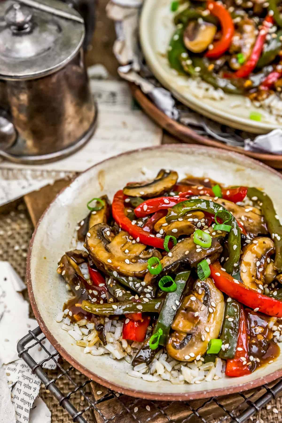 """Vegan Chinese Pepper """"Steak"""" with brown rice"""