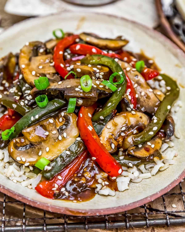 "Close up of Vegan Chinese Pepper ""Steak"""