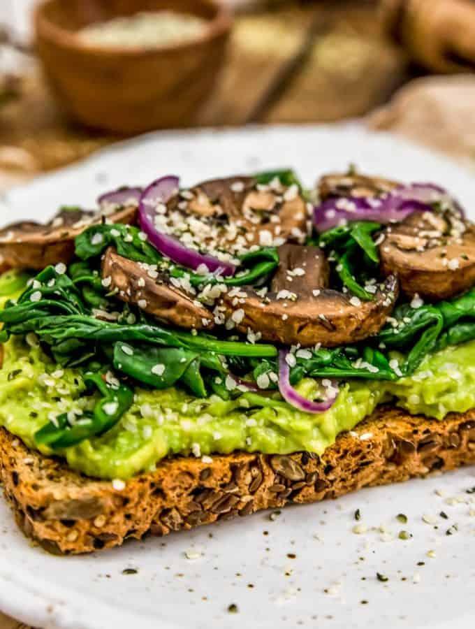 Side of Avocado Spinach Mushroom Toast
