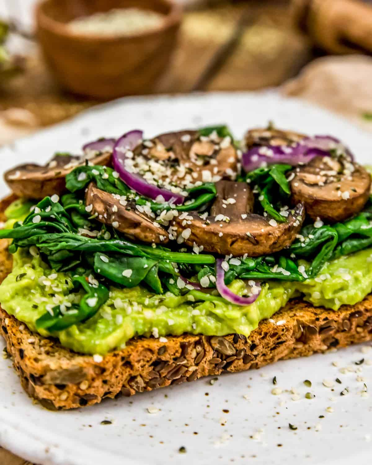Side of Avocado Spinach Mushroom Toast