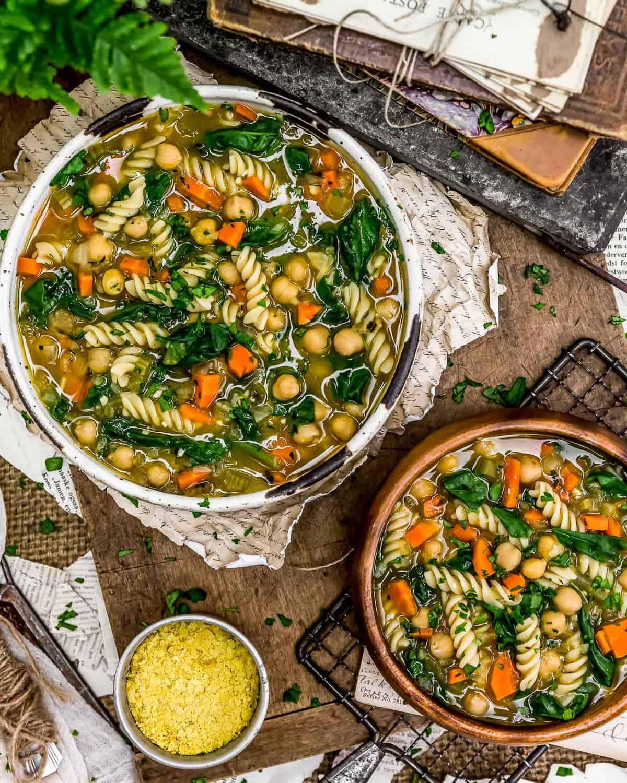 Tablescape of Chickpea Noodle Soup