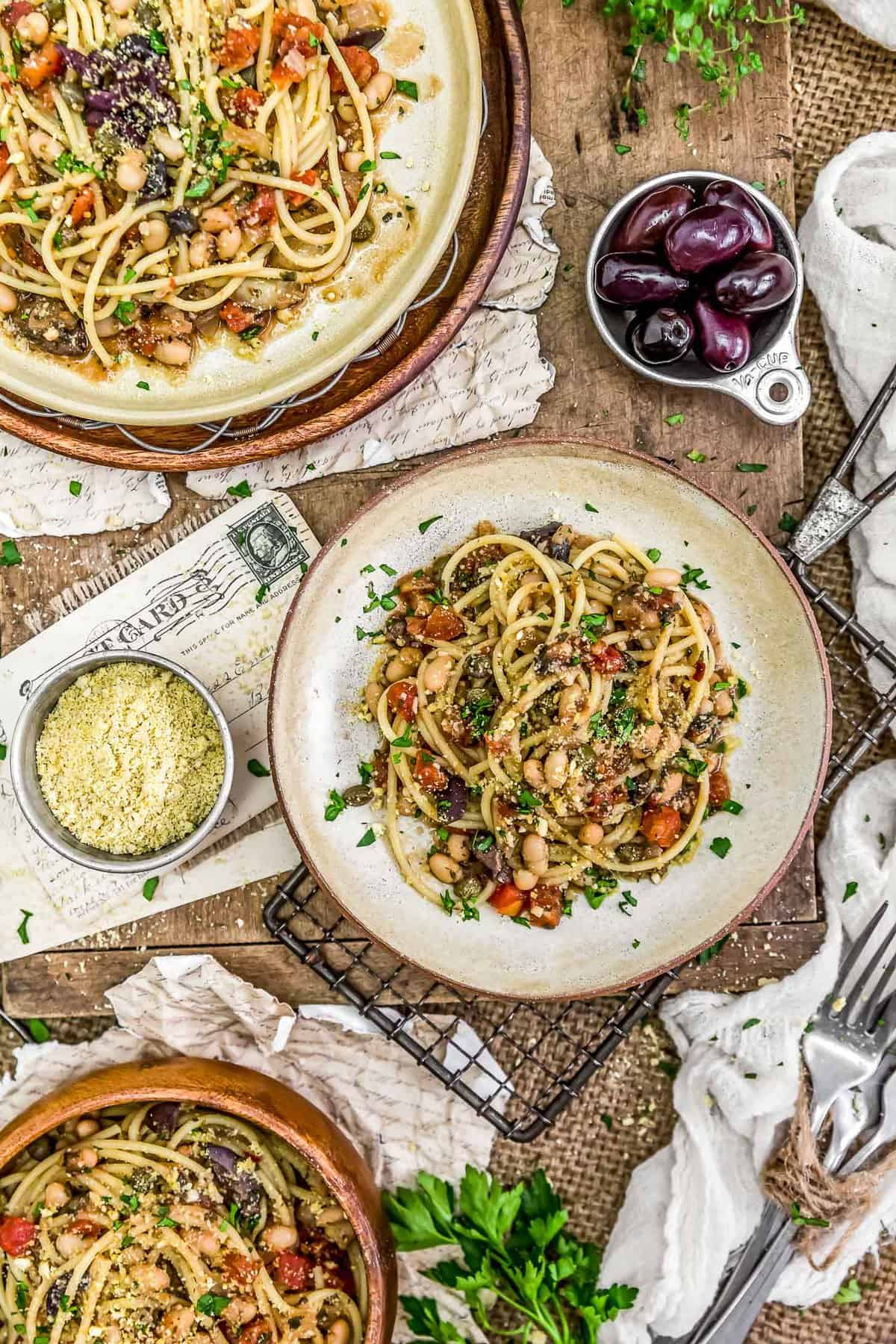 Tablescape of Pasta Puttanesca