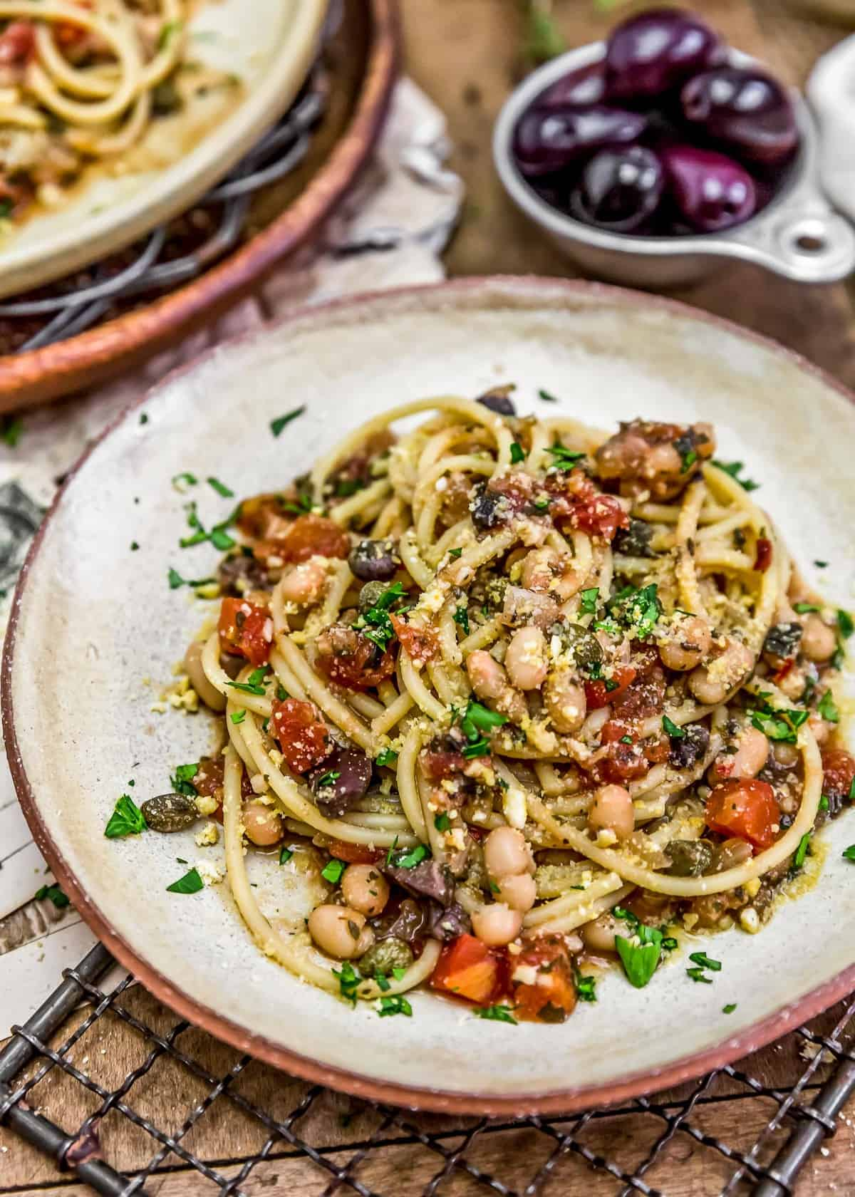 Plated Pasta Puttanesca