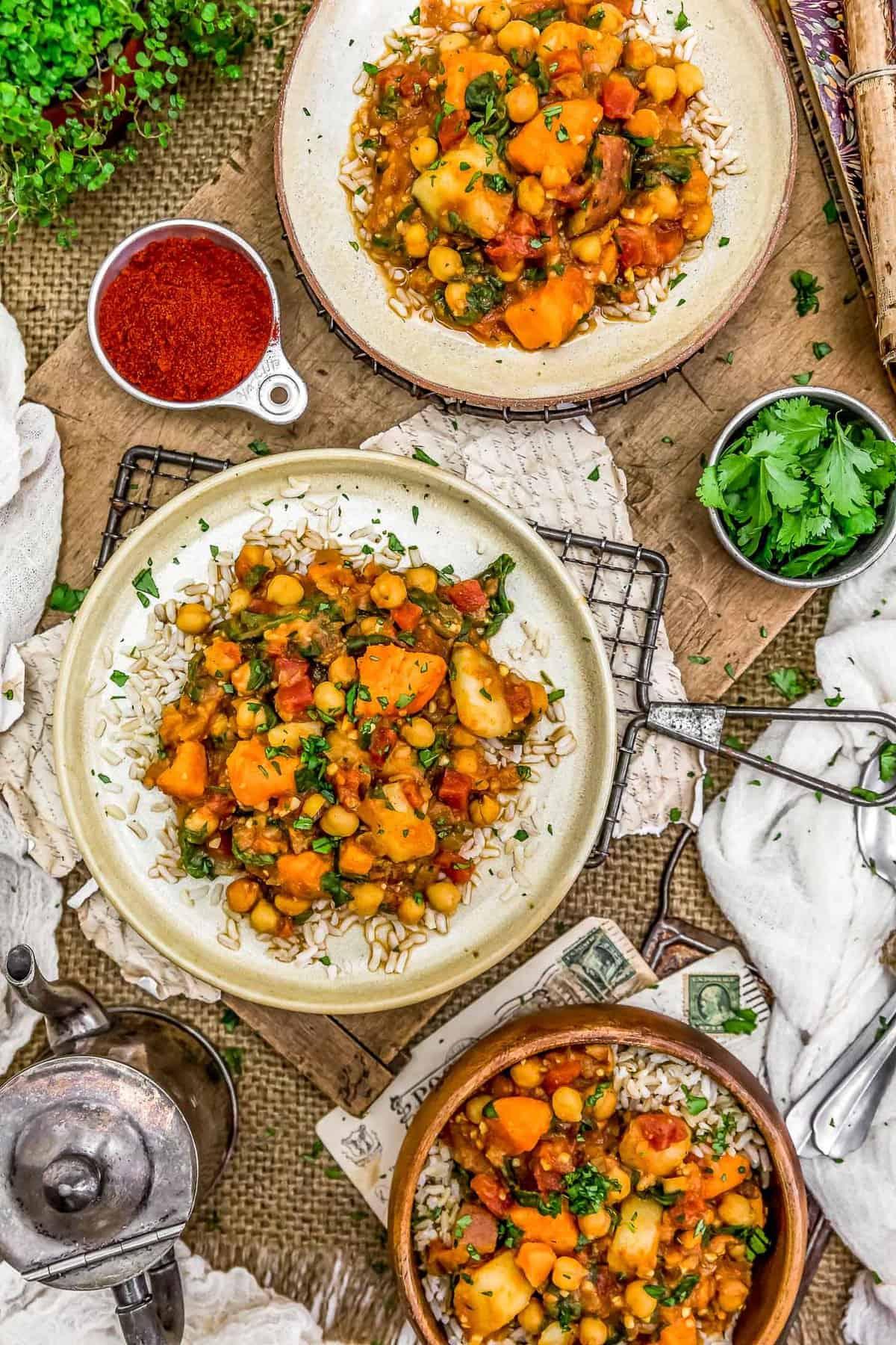 Tablescape of Potato Vindaloo