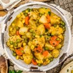 Bowl of Roasted Veggies in Golden Gravy